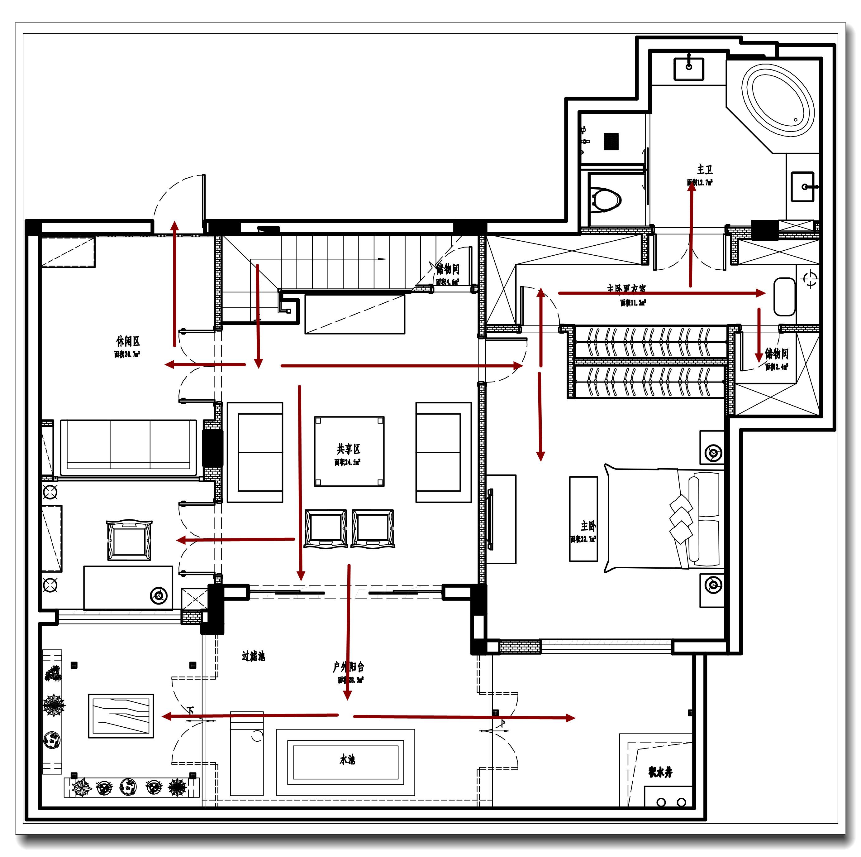 负一层设计图(含流线和功能区分)