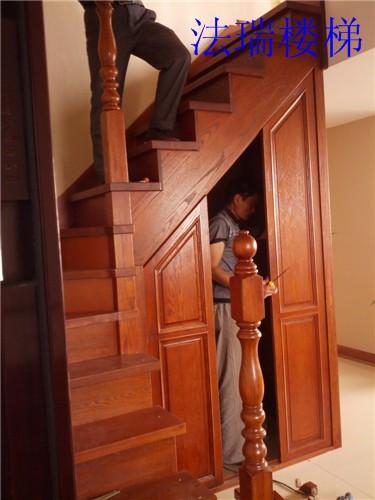实木楼梯带储藏柜楼梯红橡柜子门