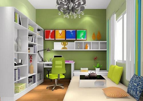 浅绿色的窗帘给空间增添了一丝清新凉爽,跟整个房间的色调也非常搭.