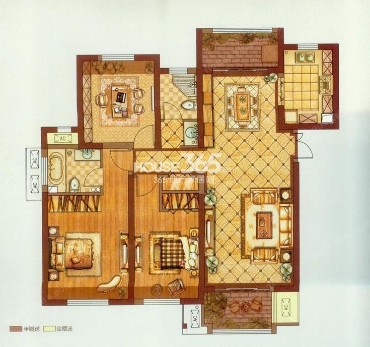 东方米兰国际城7#8#11#楼A户型三室两厅两卫一厨144.82�O