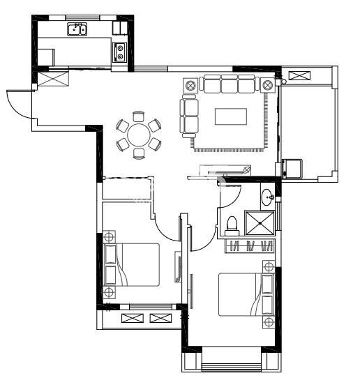 亚东观樾标准层92平方米户型图