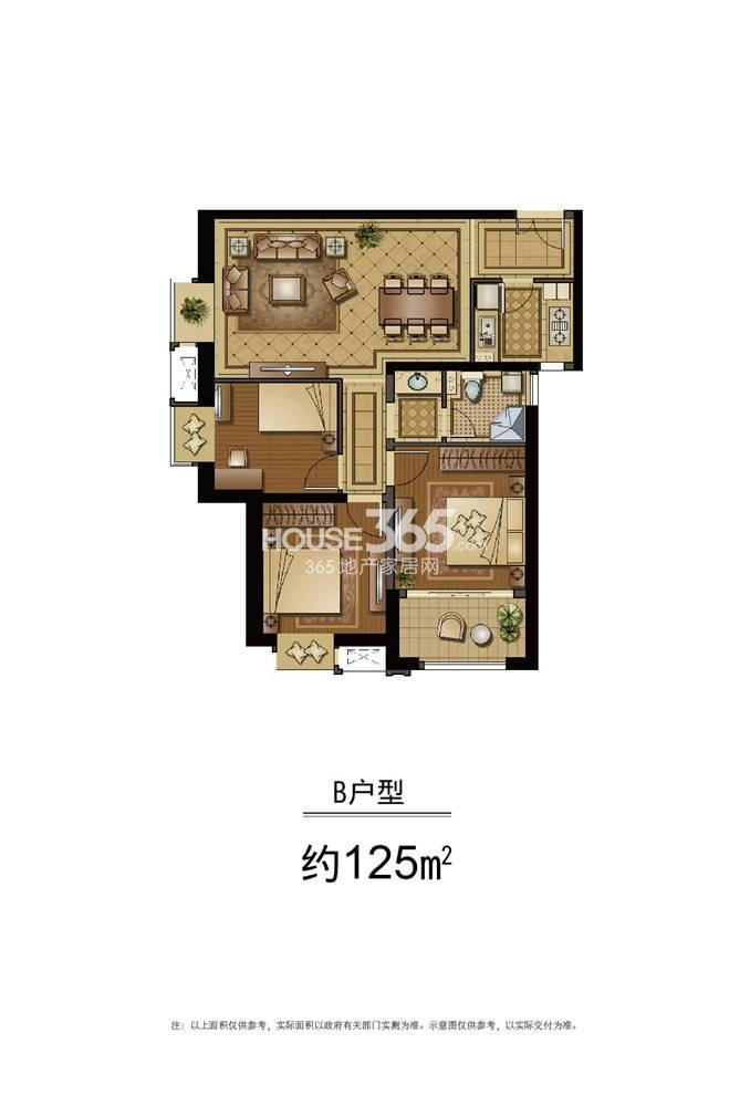 恒盛金陵湾5号楼标准层B户型 125平方米