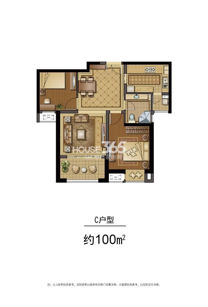 恒盛金陵湾5号楼标准层C户型 100平方米