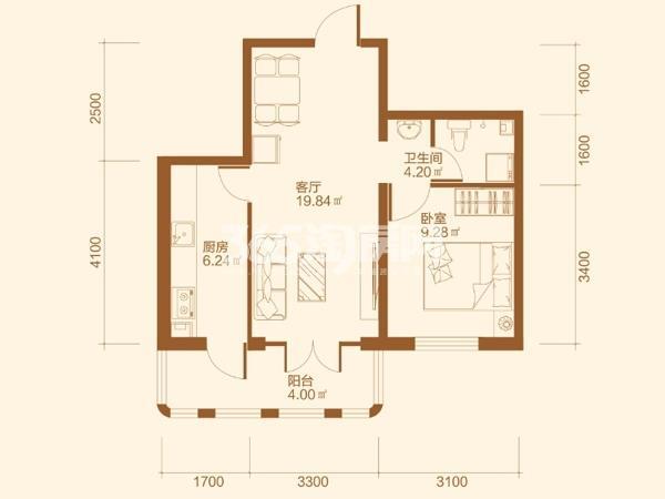 D户型1室1厅1卫