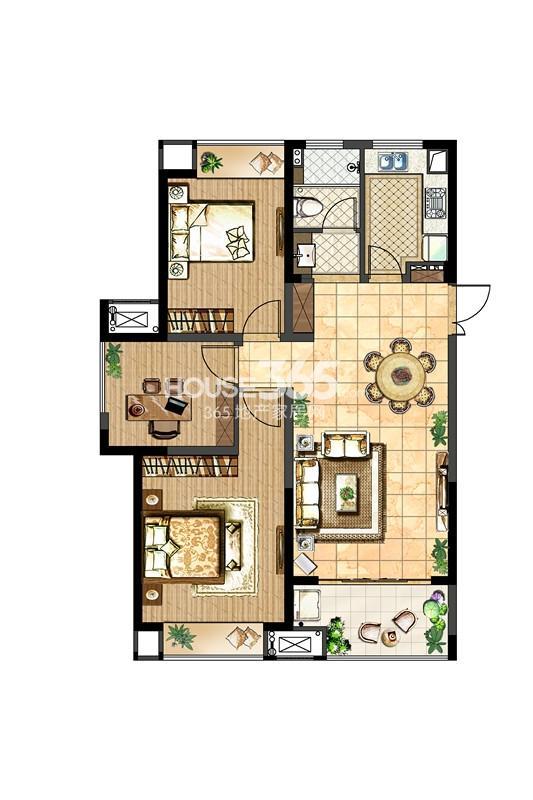 中电颐和府邸一期高层标准层-B2户型 2+1房两厅一卫