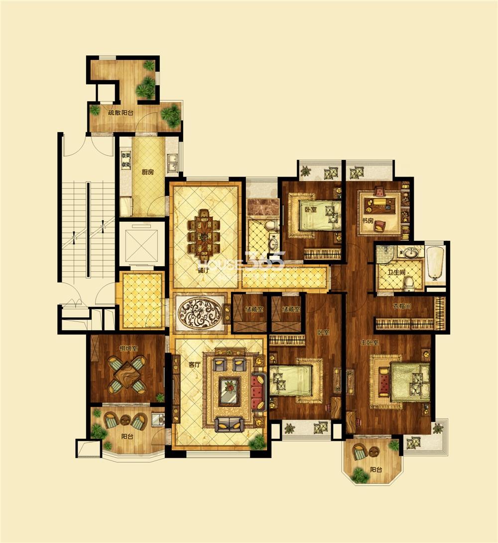 恒大翡翠华庭1期标准层F户型 五房两厅两卫