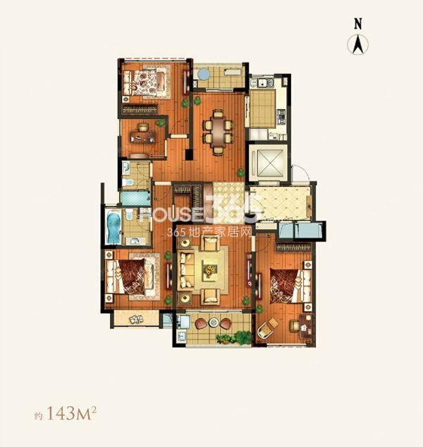 颐和湾花园约143平A-2a户型3室2厅2卫