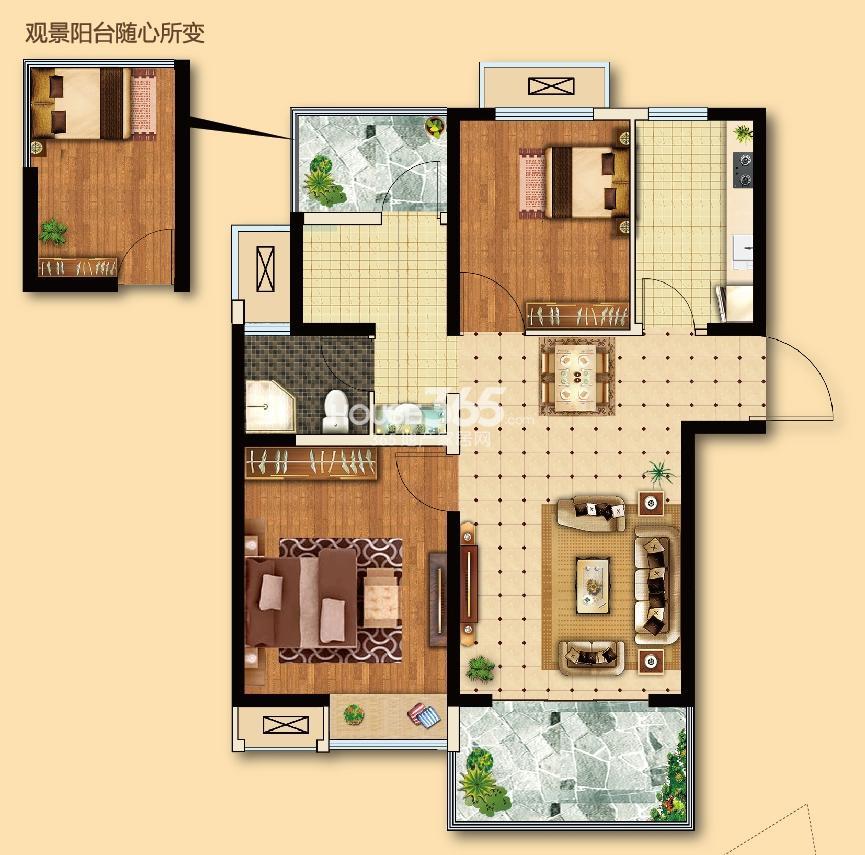 电建地产海赋尚城一期标准层87平方米 2+1室2厅1卫 B1户型