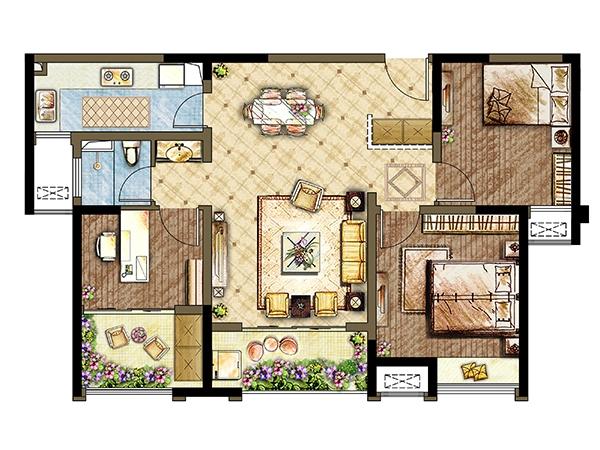 7#8#楼B2户型-三室两厅一卫 99平