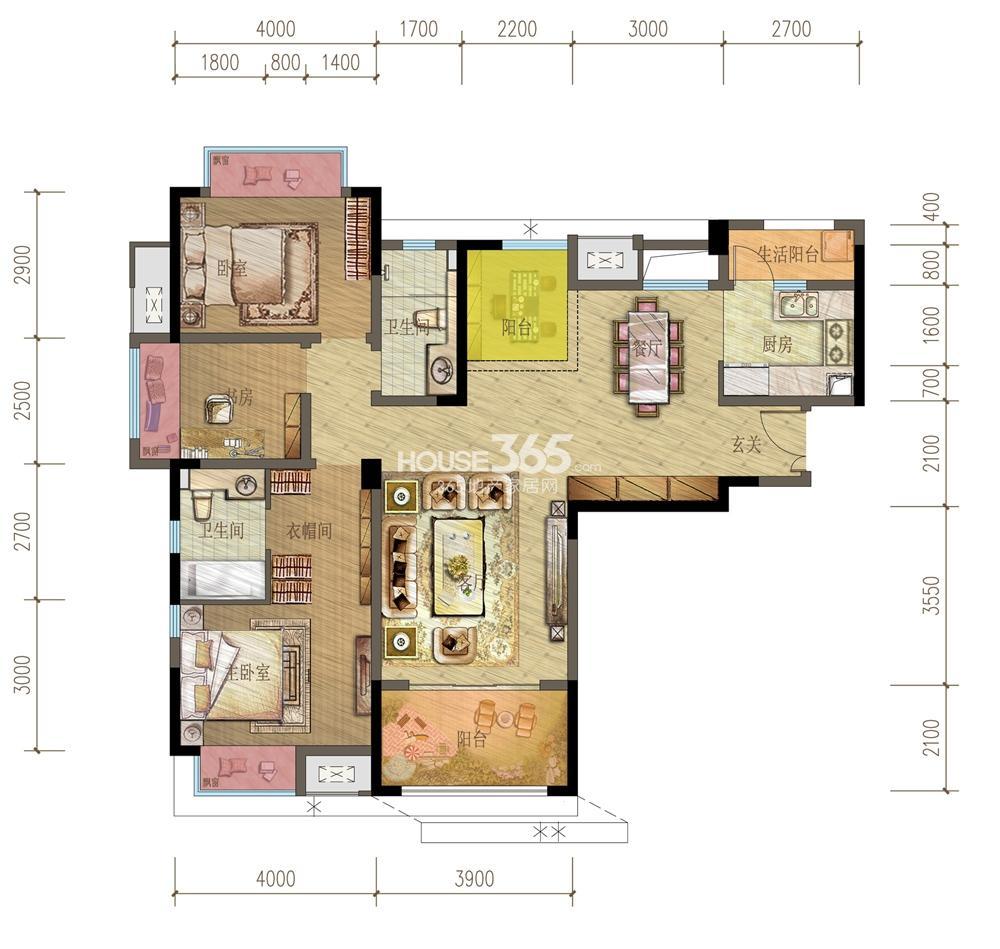 御龙天峰铂庭组团C-2'户型 三房两厅两卫 104平米