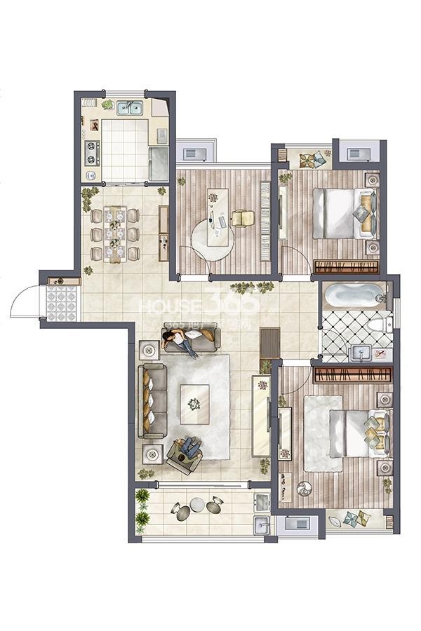 环秀湖花园户型图小高层1#标准122平米