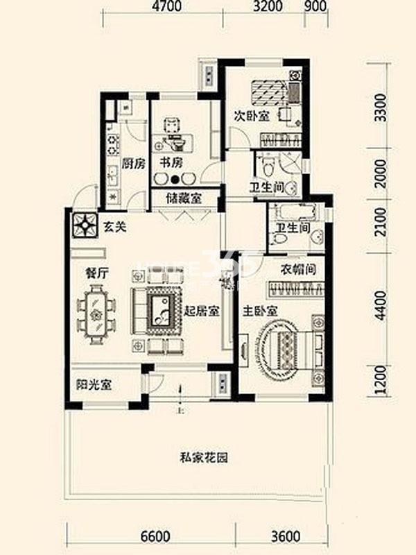 唐轩公馆130平方米   三室两厅一卫一厨