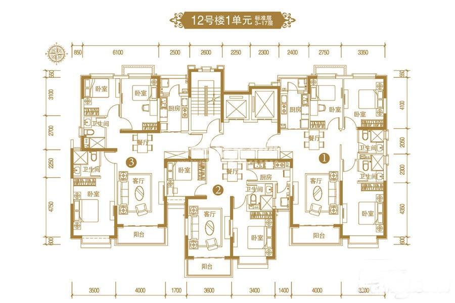 恒大御景半岛12号楼1单元平面图