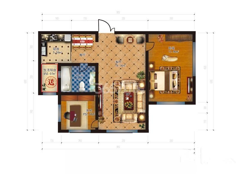 二期A2户型2室1厅1卫1厨  参考使用面积44平方米
