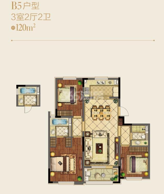 朗诗绿洲天屿洋房B5户型图约120平3室2厅2卫