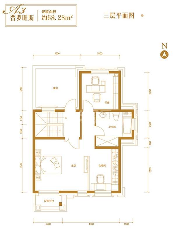 联排A3三层平面图