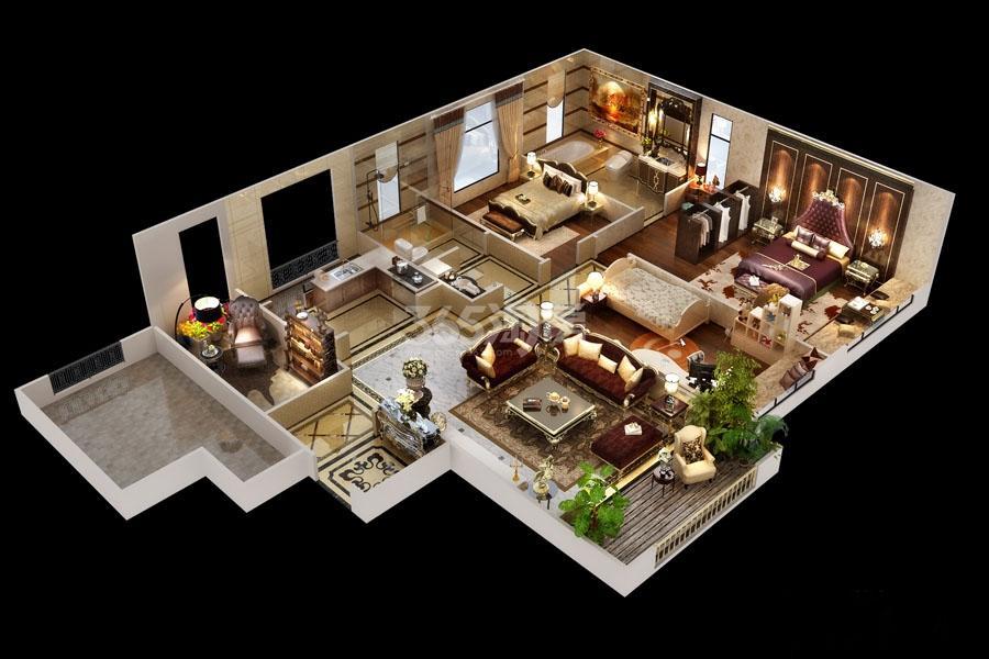 中航华府4室2厅2卫1厨128平户型