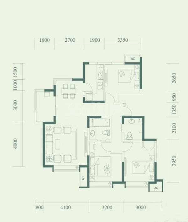 B1户型, 3室2厅3卫, 约112.00平米