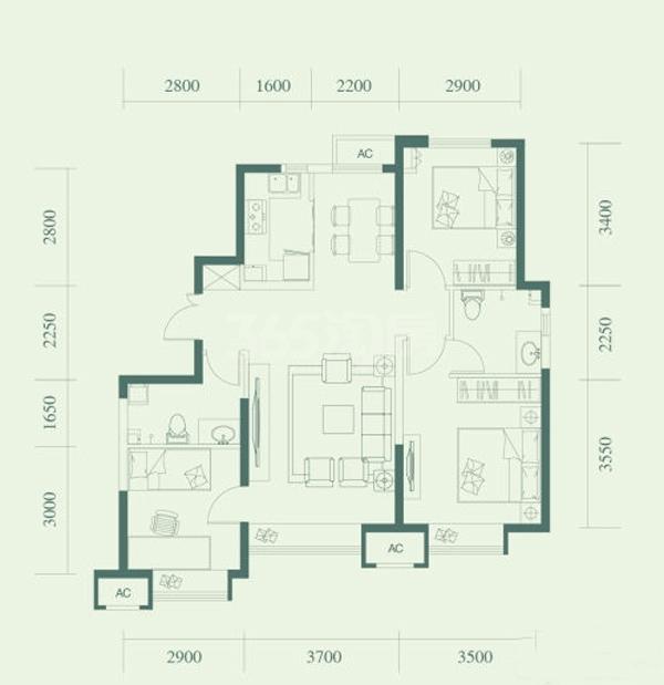 F户型, 3室2厅2卫, 约108.00平米