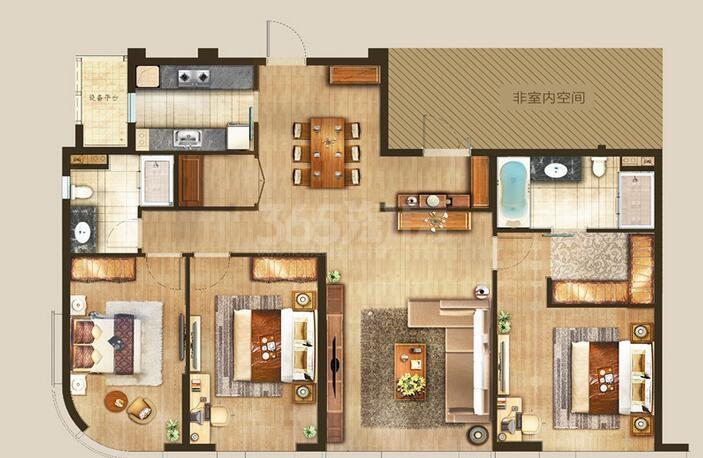 丰隆城市中心T1-70年产权公寓E-2-1户型