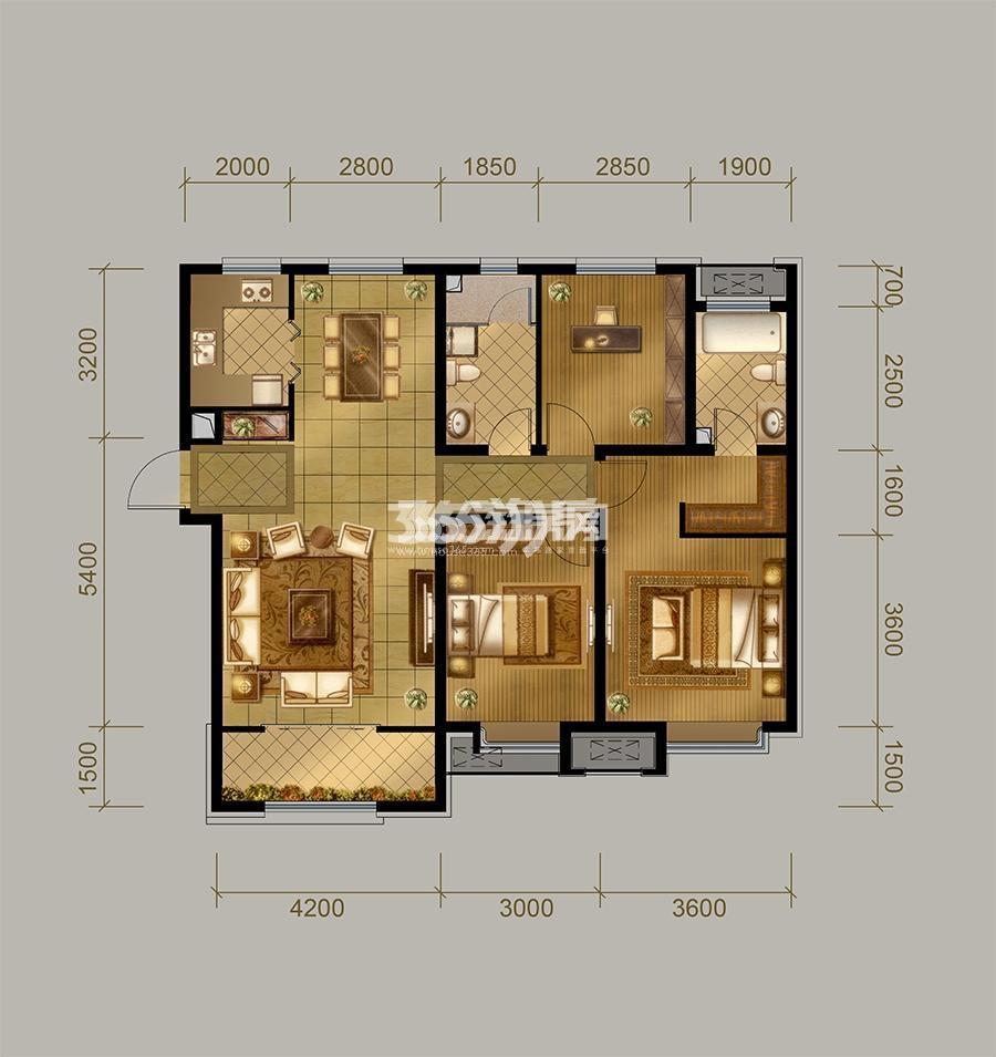 高层E户型 3室2厅2卫 133㎡