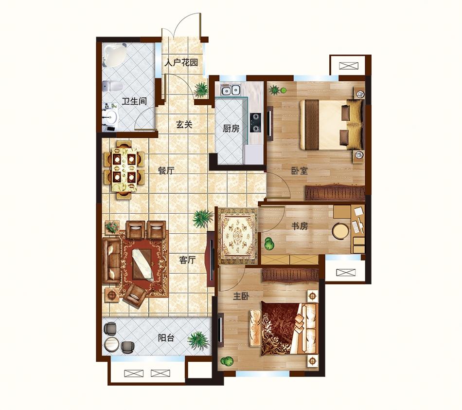 B户型-100㎡-三室两厅一卫