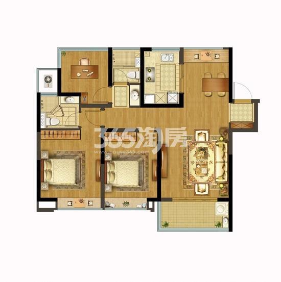 融创玉兰公馆项目105㎡三房两厅两卫户型图