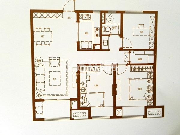 B户型三室二厅一卫