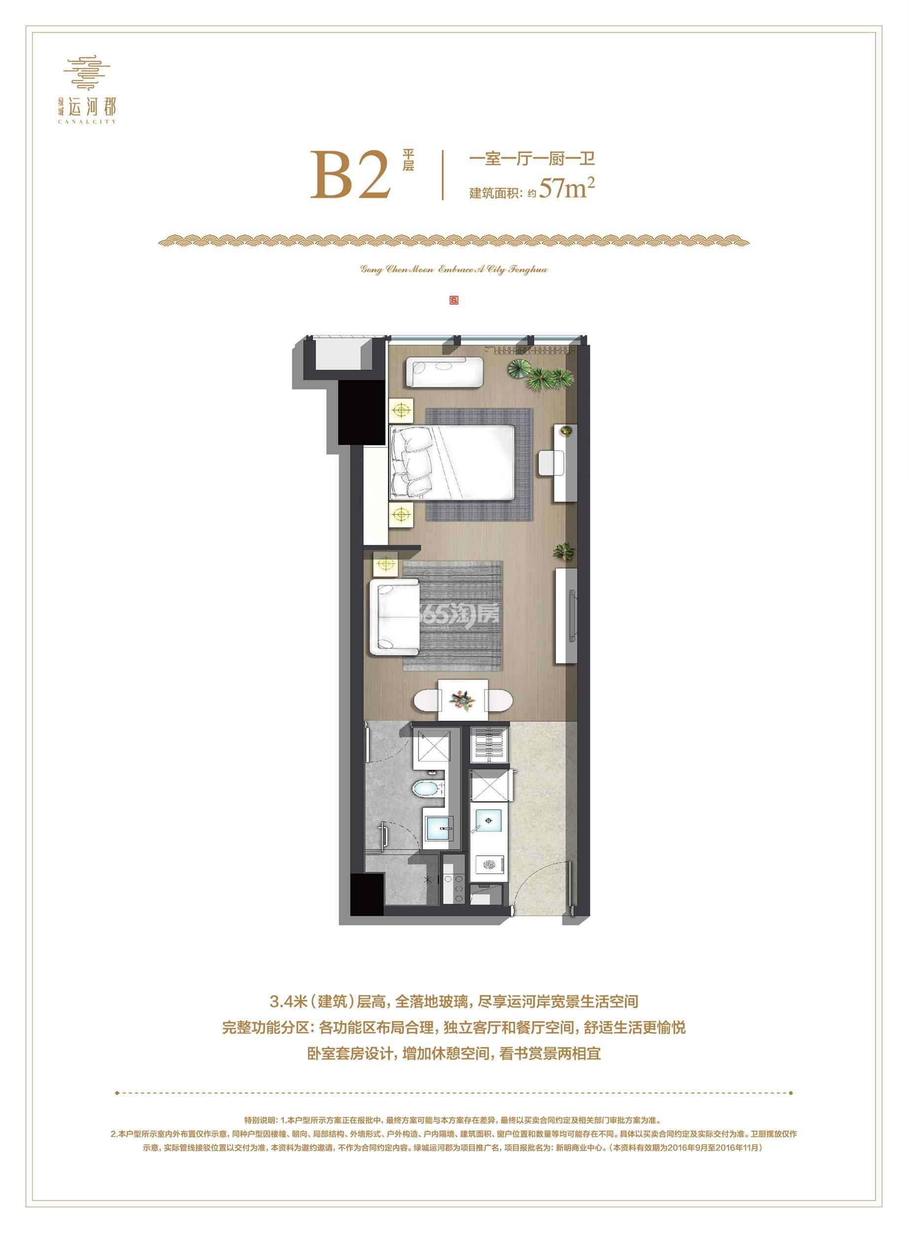 绿城运河郡项目B2(平层)户型