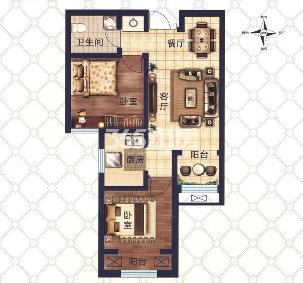 D6户型 两室两厅一卫一厨 建筑面积约70.14㎡
