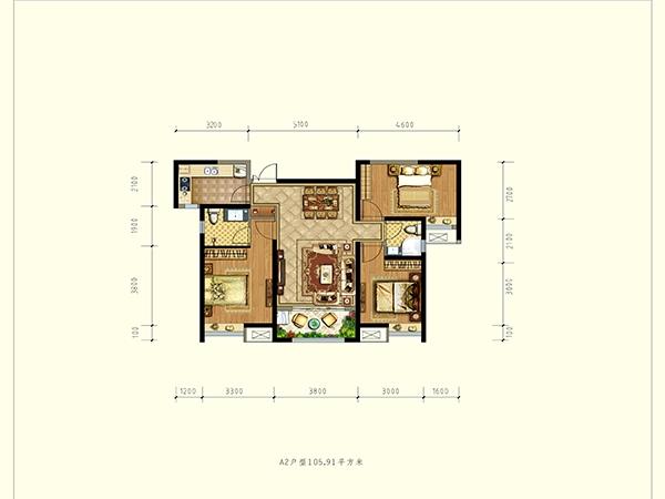 德杰状元府邸A2户型三室两厅一厨一卫105.90㎡