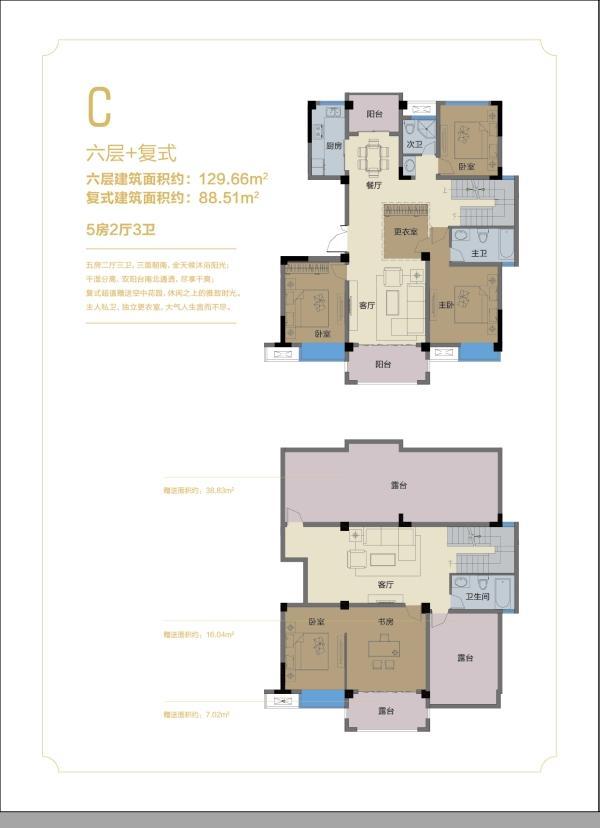 嘉泰丹霞公馆项目129.66户型图