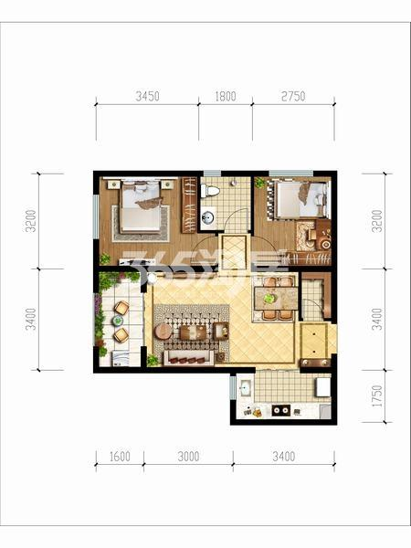 天朗玖悦都两室两厅一厨一卫68.41平米户型图