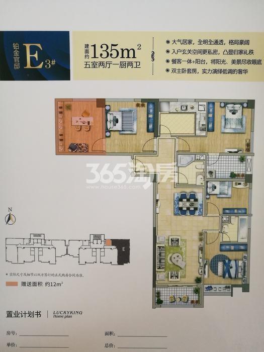 中铁立丰国际广场3#楼E户型五室两厅一厨两卫135平米