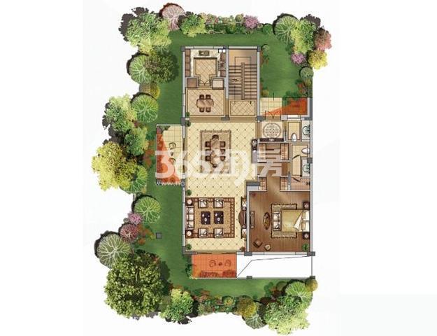 绿地西水东中央生活区洋房4B下户型400平户型图(共2张)