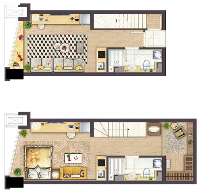 银城Kinma Q+社区4.8m 层高双钥匙公寓户型