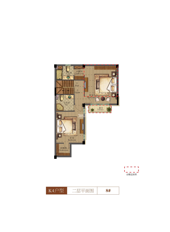 祥生群贤府8号楼K4户型二层 140.96㎡