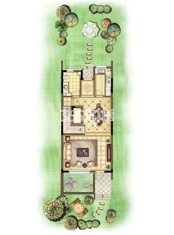 瑞安翠湖山西边02室224㎡C户型1层