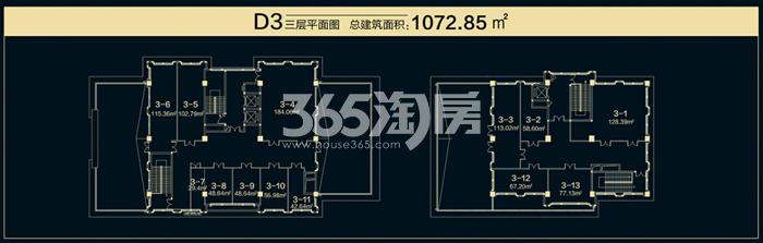 国润城商铺D2户型平面图1072.85㎡