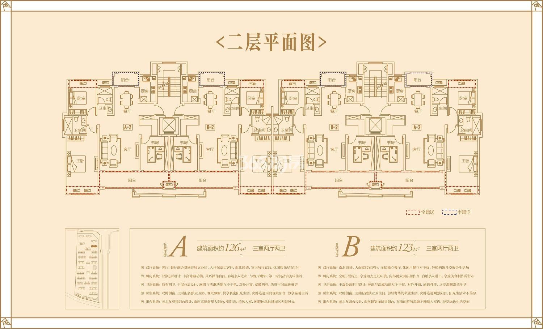 同昇玫瑰园28#126㎡、123㎡户型(二层)