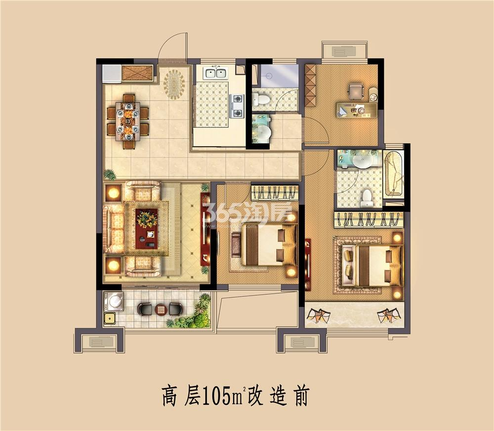 中南熙悦高层105㎡户型图