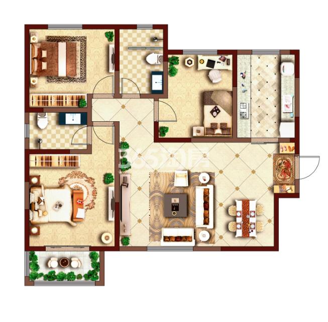 荣华碧水蓝庭128㎡三房两厅二卫一厨
