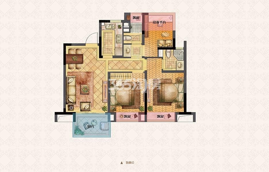 荣里89㎡三室两厅B1户型图