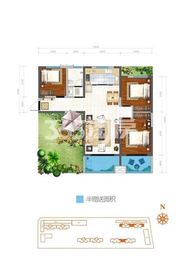 万象湾s3户型3室2厅1卫1厨113.50㎡