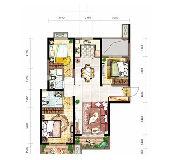 金辉优步花园 C6户型 3室2厅1厨2卫110.72㎡
