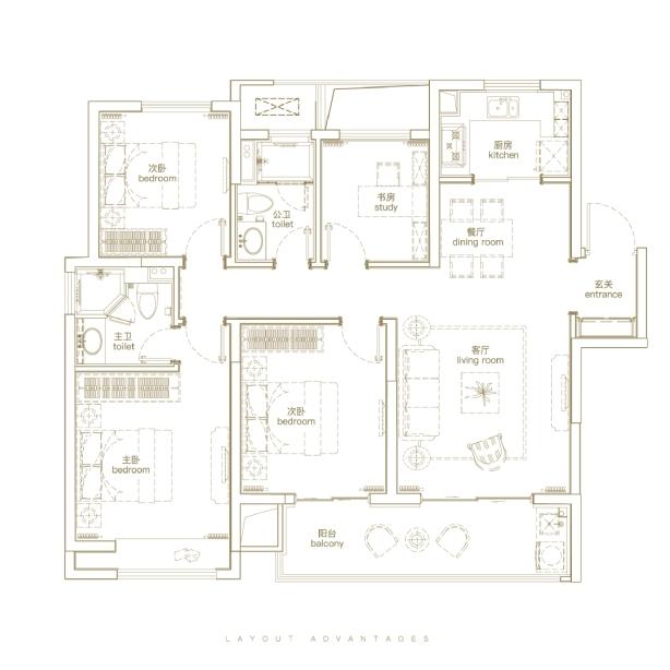 天玺125㎡四室两厅两卫