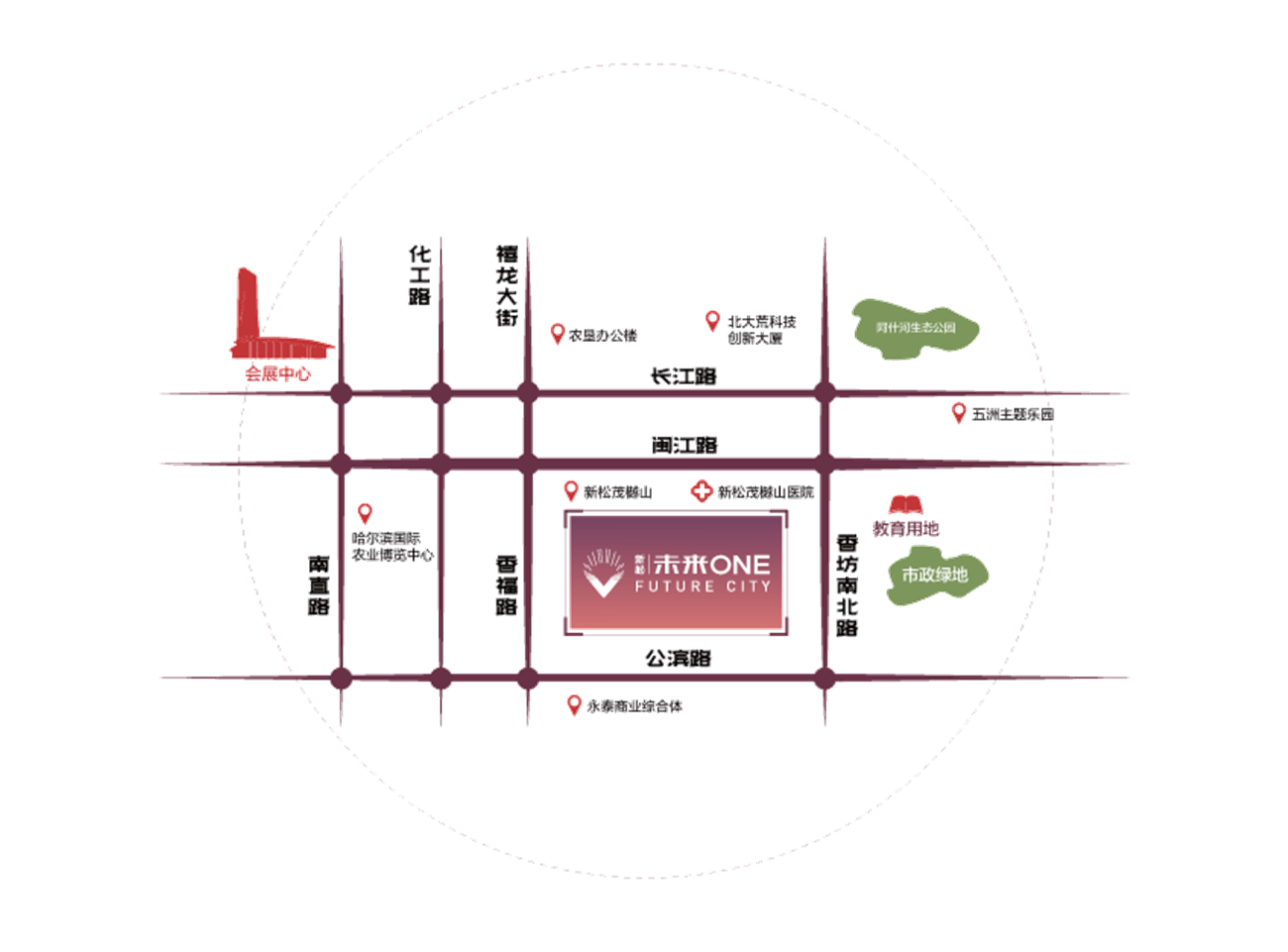 新松·未来ONE交通图